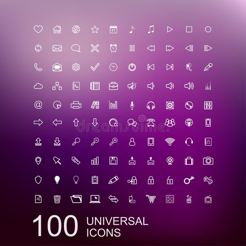 Sistema del vector de 100 iconos para el diseño web stock de ilustración
