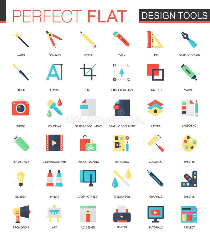 Sistema del vector de iconos planos de las herramientas de diseño del App ilustración del vector