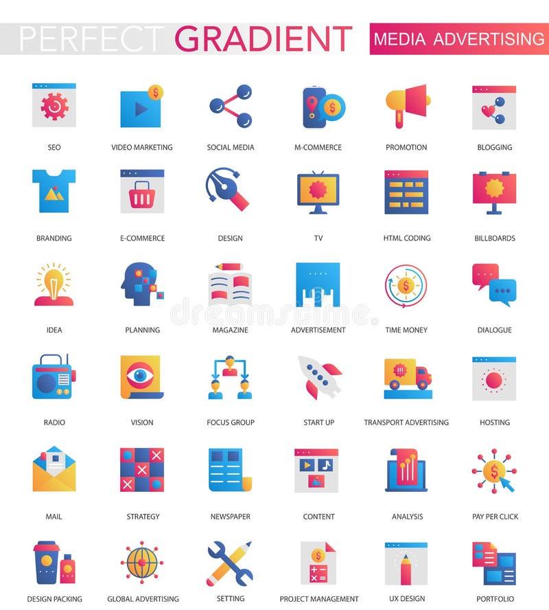 Sistema del vector de iconos planos de moda de la publicidad de medios de la pendiente stock de ilustración