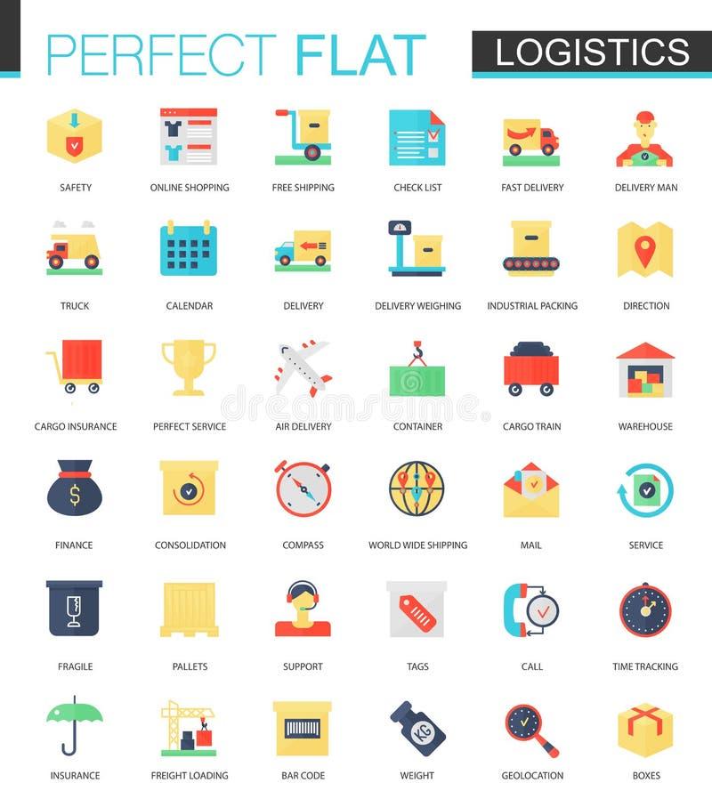 Sistema del vector de iconos planos del transporte de la logística stock de ilustración