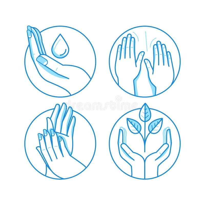 Sistema del vector de iconos y de ejemplos en el estilo linear - masaje ilustración del vector