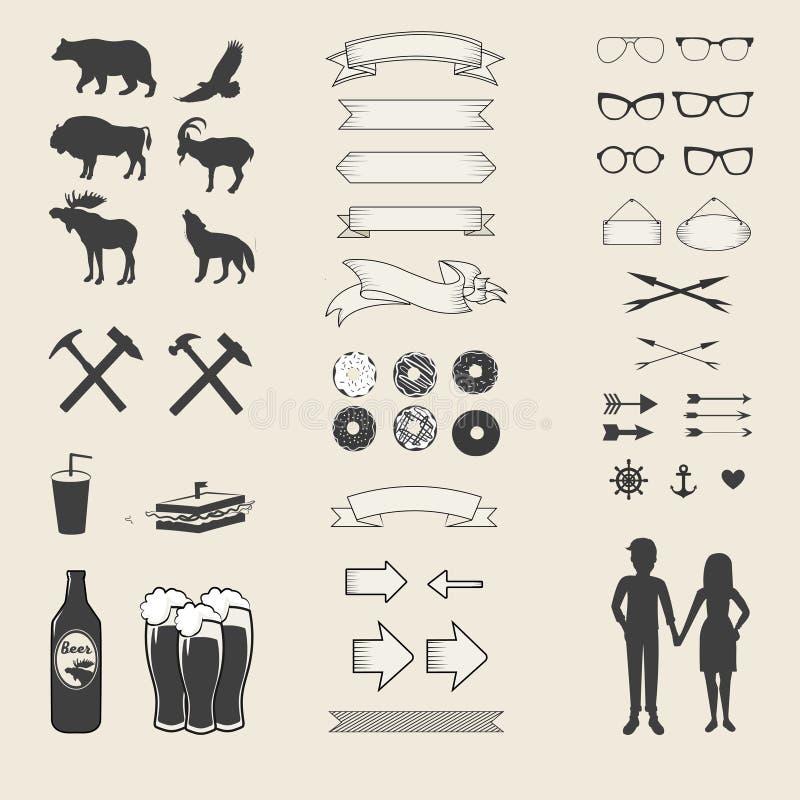 Sistema del vector de iconos y de etiquetas para su diseño stock de ilustración