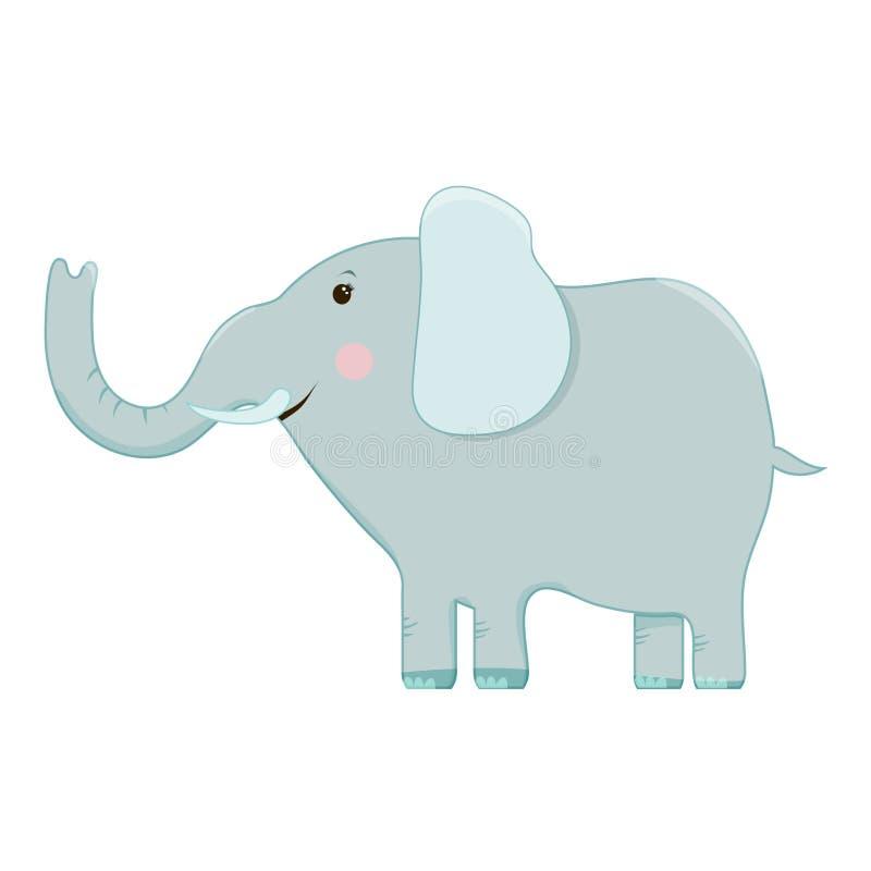 Sistema del vector de imágenes de la historieta de elefantes grises divertidos con diversas acciones y emociones en un fondo blan libre illustration