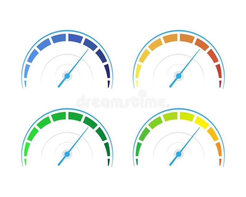 Sistema del vector de indicadores coloreados stock de ilustración