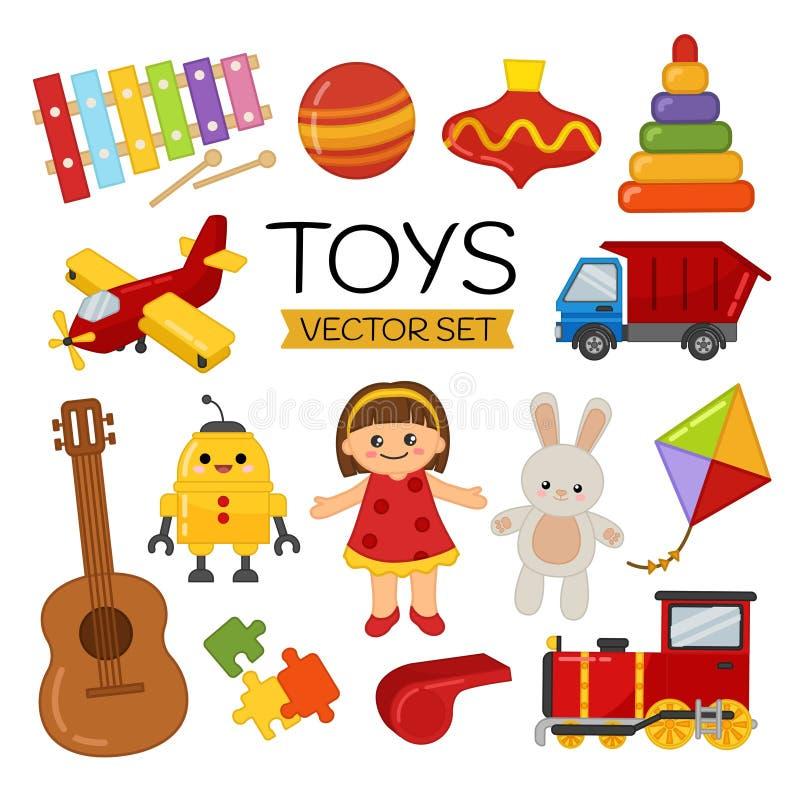 Sistema del vector de juguetes de la historieta stock de ilustración