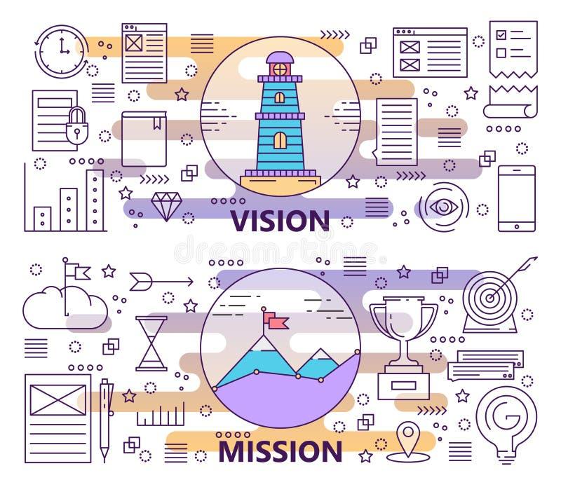 Sistema del vector de línea fina moderna Vision y de banderas de la misión ilustración del vector