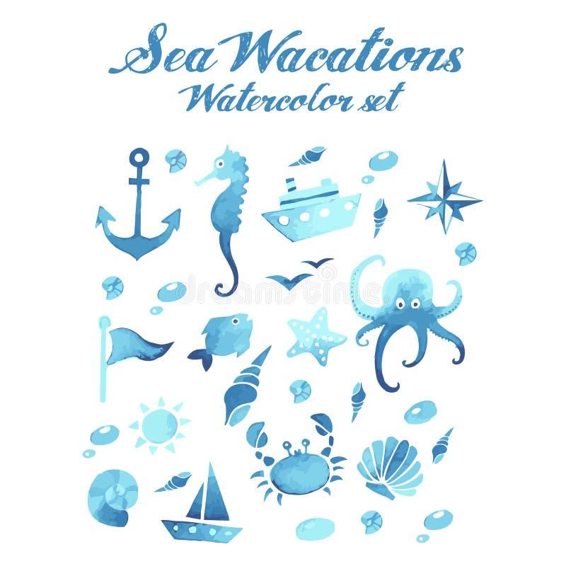 Sistema del vector de la acuarela de las vacaciones del mar stock de ilustración