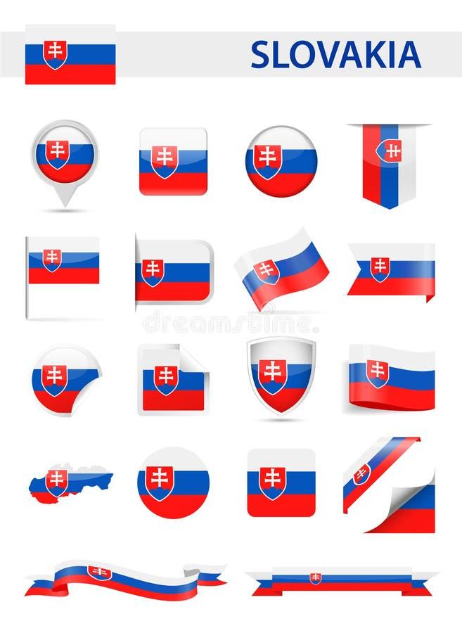 Sistema del vector de la bandera de Eslovaquia ilustración del vector