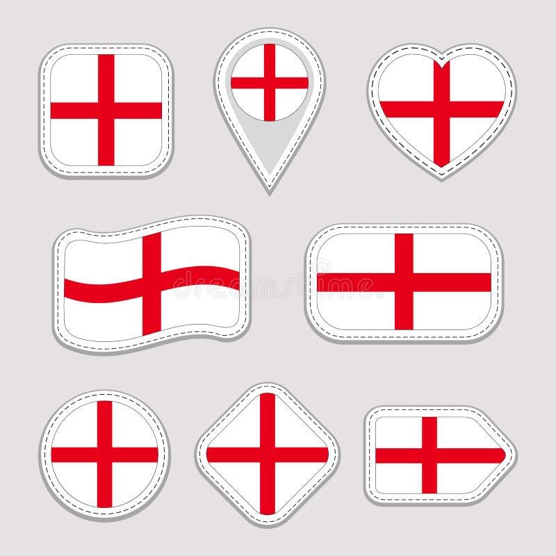 Sistema del vector de la bandera de Inglaterra Colección de etiquetas engomadas inglesas de las banderas nacionales Iconos aislad ilustración del vector
