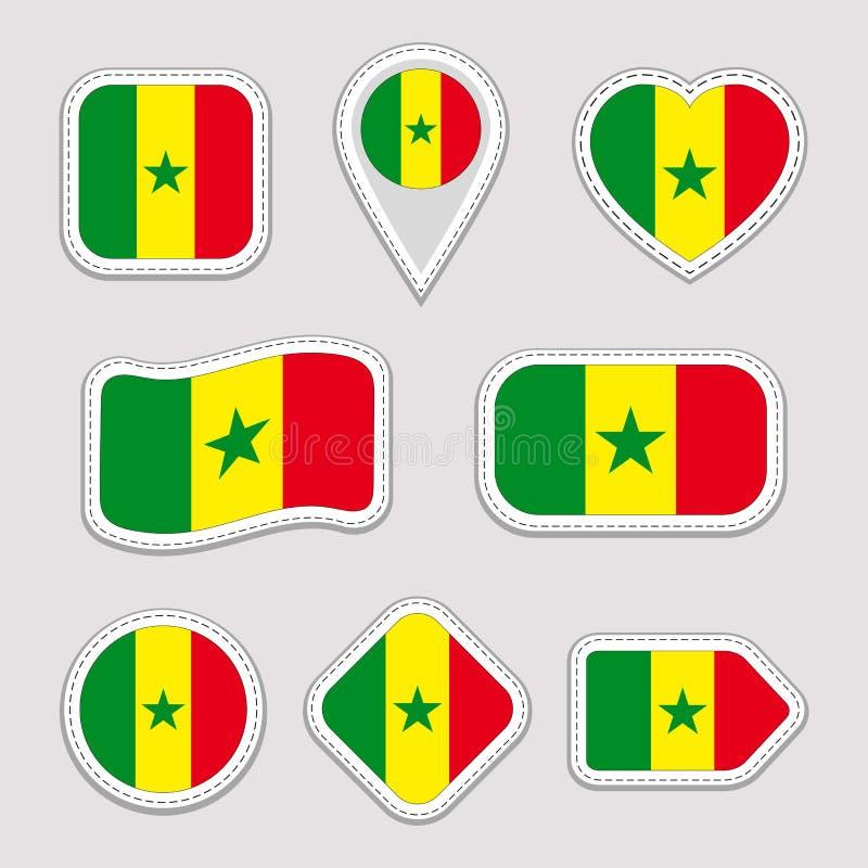 Sistema del vector de la bandera de Senegal Colección senegalesa de las etiquetas engomadas Iconos geométricos aislados Insignias ilustración del vector