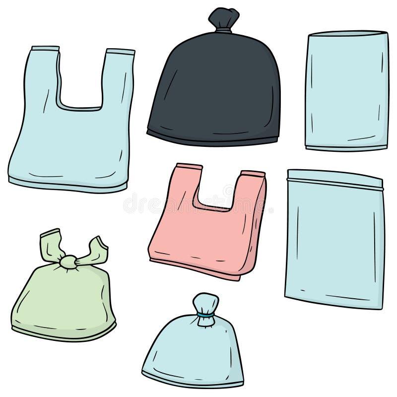 Sistema del vector de la bolsa de plástico ilustración del vector