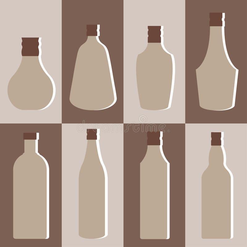 Sistema del vector de la botella del alcohol stock de ilustración