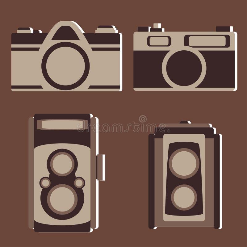 Sistema del vector de la cámara del vintage ilustración del vector