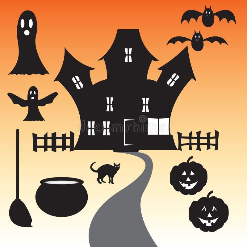 Sistema del vector de la casa encantada del feliz Halloween foto de archivo libre de regalías