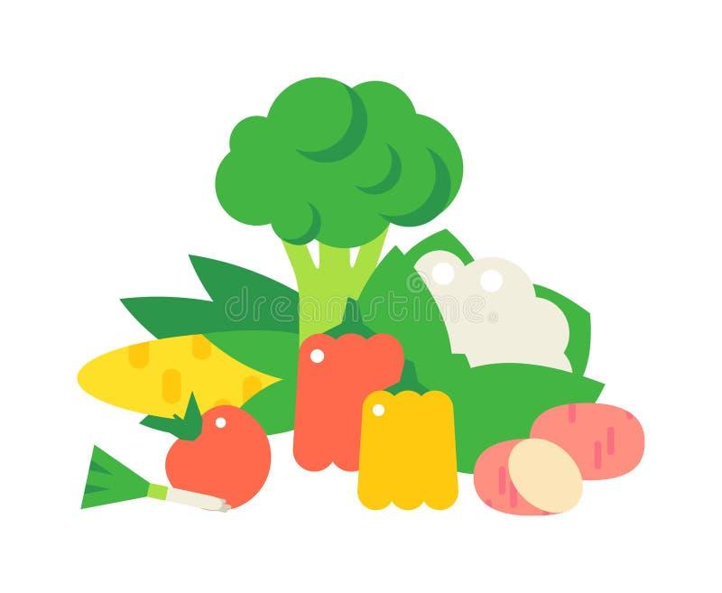 Sistema del vector de la celulosa de la comida de las verduras stock de ilustración