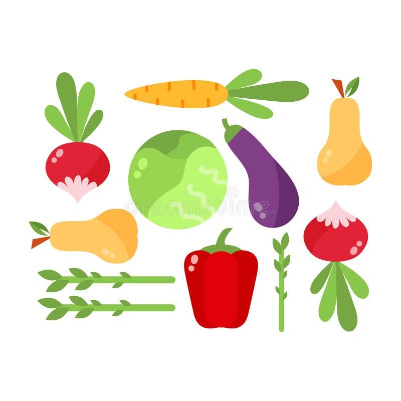 Sistema del vector de la celulosa de la comida de las verduras libre illustration