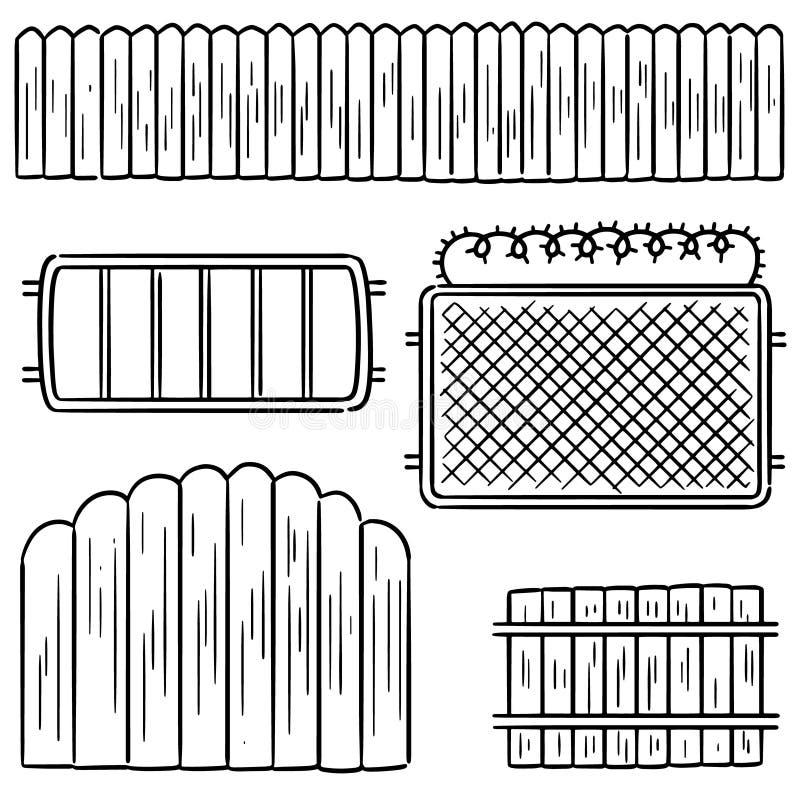 Sistema del vector de la cerca stock de ilustración