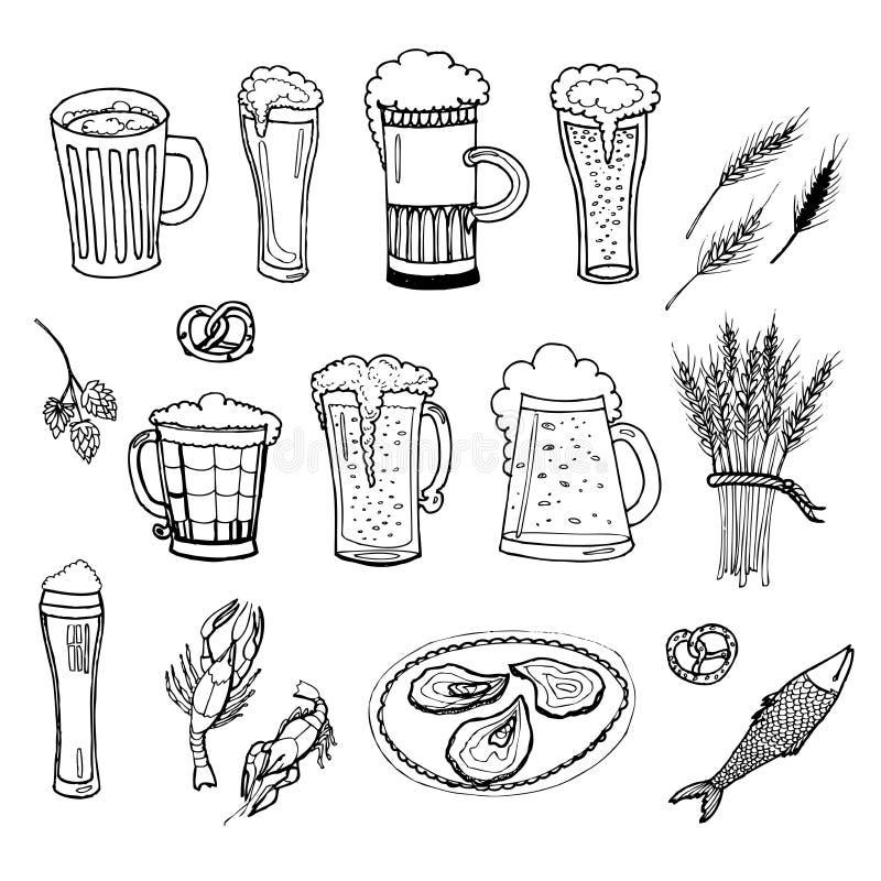 Sistema del vector de la cerveza imagenes de archivo