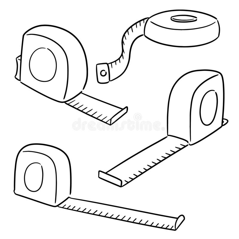 Sistema del vector de la cinta métrica stock de ilustración
