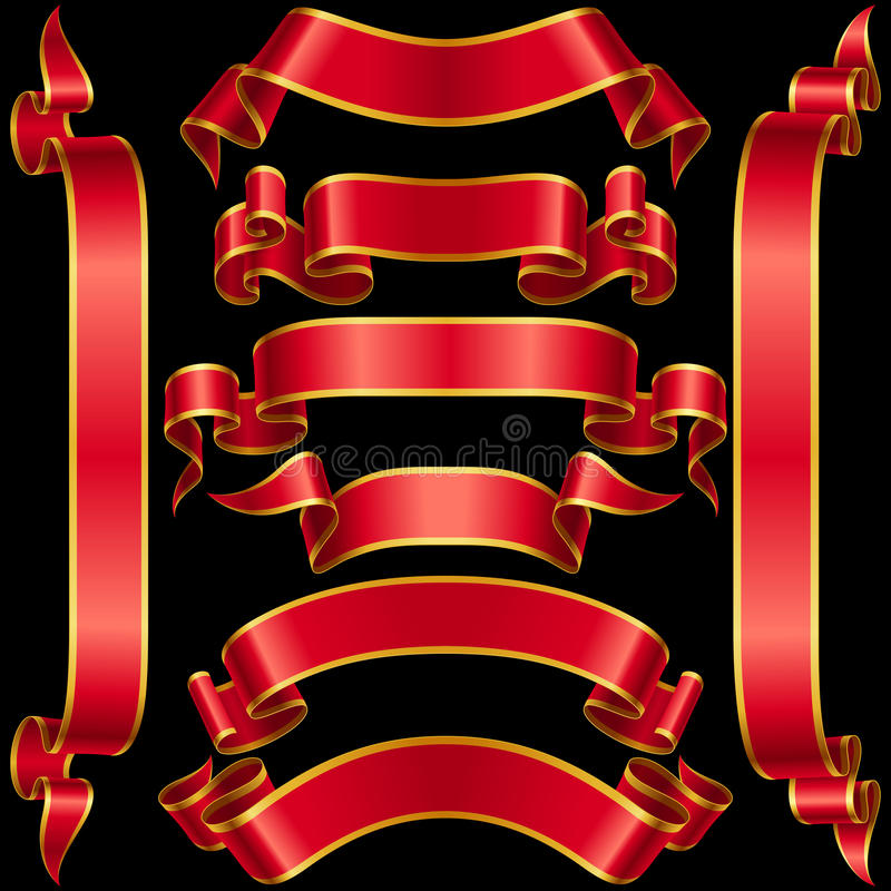 Sistema del vector de la cinta roja de la bandera ilustración del vector