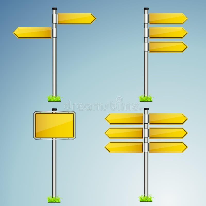 Sistema del vector de la colección del poste indicador aislado con el fondo metálico brillante libre illustration