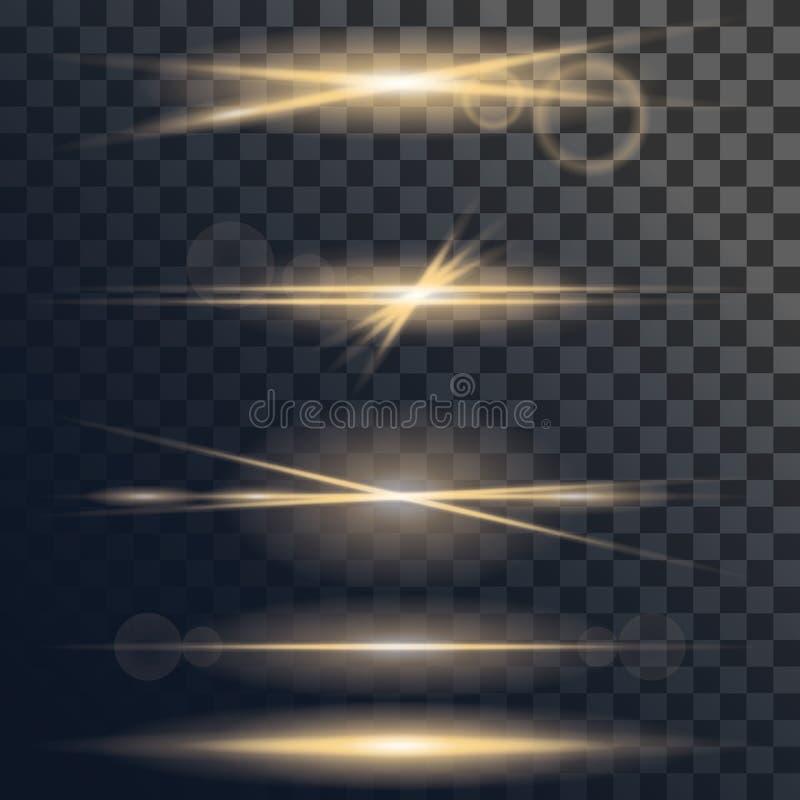 Sistema del vector de la explosión ligera de la llamarada o de la estrella con las chispas y el efecto de la llamarada de la lent stock de ilustración