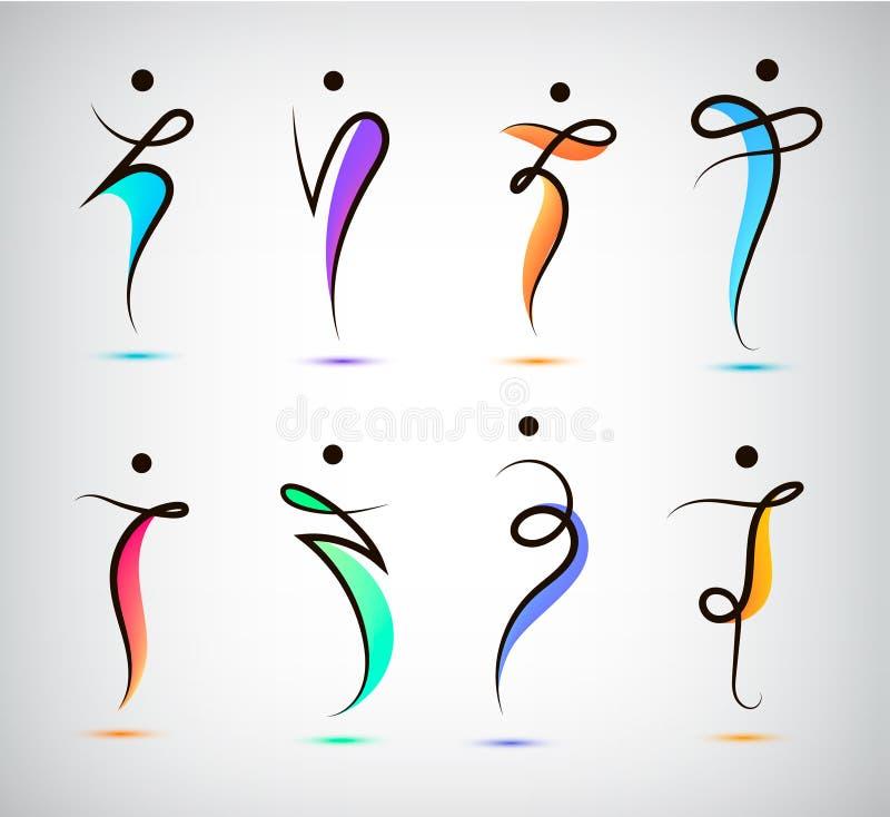 Sistema del vector de la figura línea logotipos, ser humano, hombres, deporte y baile de la silueta stock de ilustración
