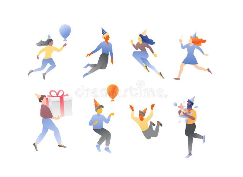 Sistema del vector de la gente del cumpleaños ilustración del vector