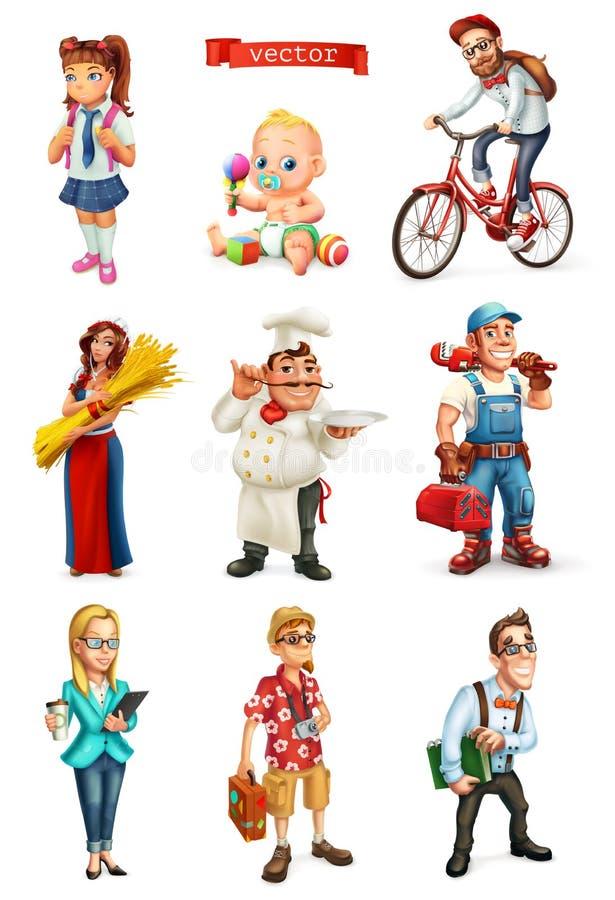 Sistema del vector de la gente 3d Cocine, encargado, estudiante, turista, reparador, ciclista, niños stock de ilustración