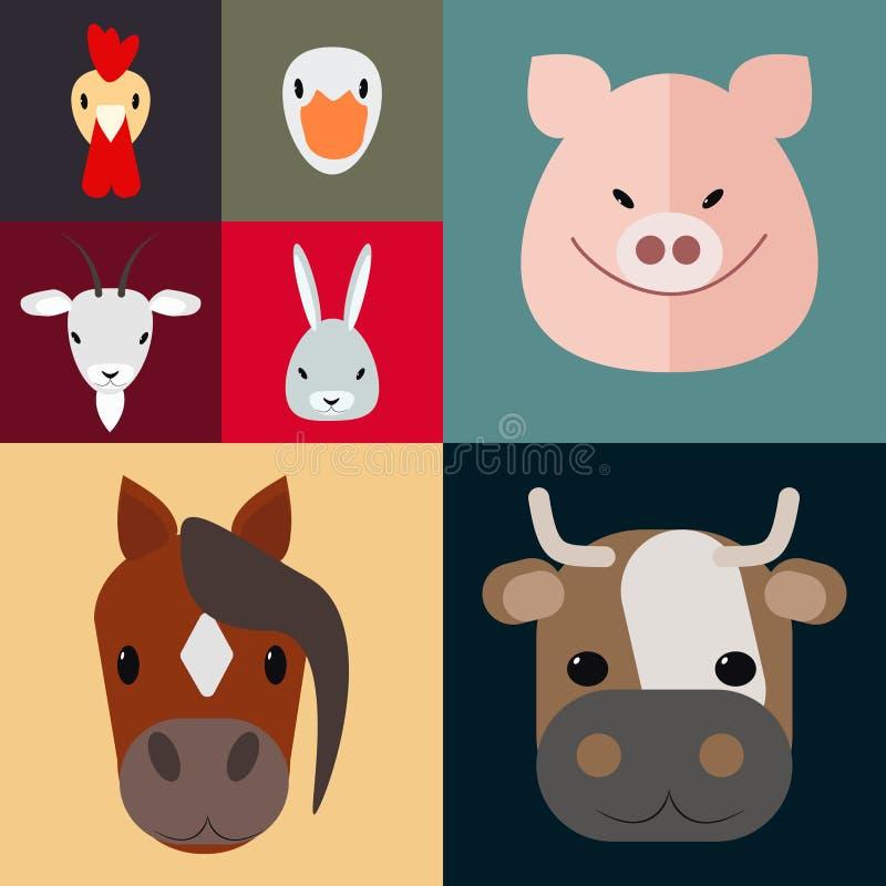 Sistema del vector de la granja del corral de los animales del campo stock de ilustración