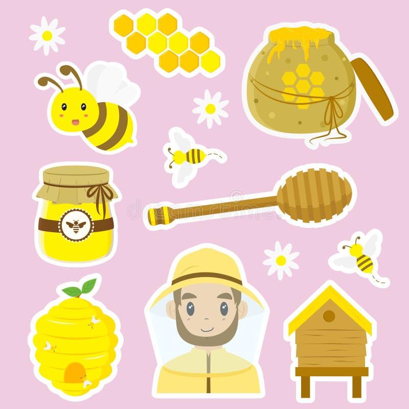 Sistema del vector de la historieta de la apicultura libre illustration