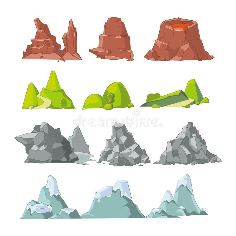 Sistema del vector de la historieta de las colinas y de las montañas ilustración del vector