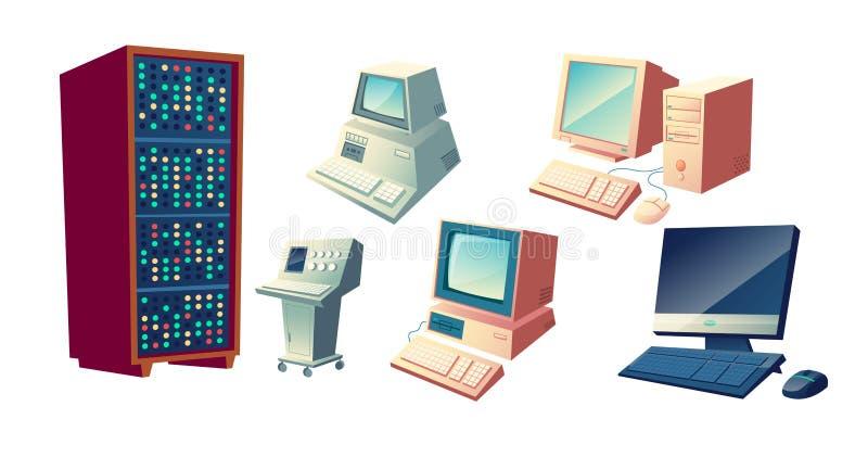 Sistema del vector de la historieta de la evolución de los ordenadores personales stock de ilustración