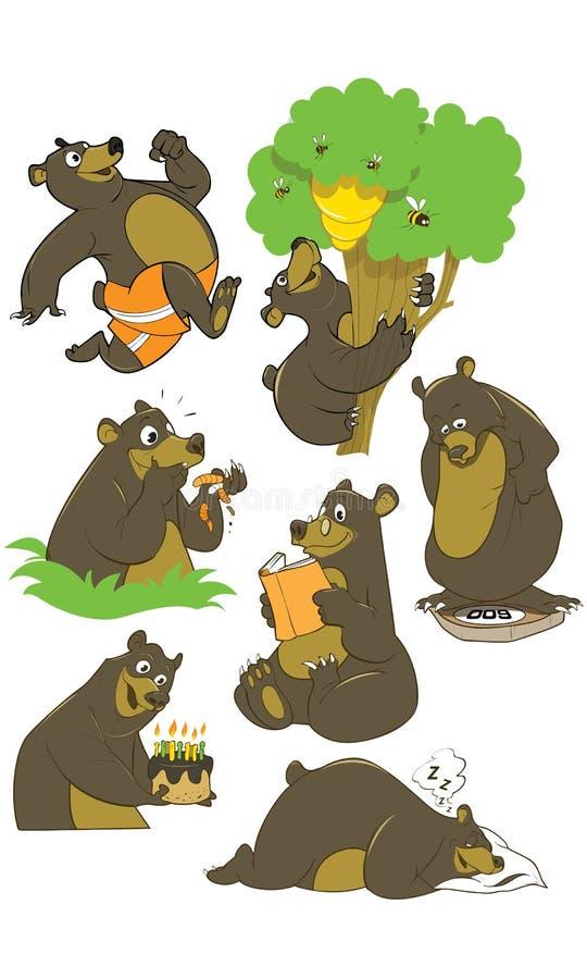Sistema del vector de la historieta del oso grizzly marrón, aislado en el fondo blanco Peluche en diversas actitud y actividades ilustración del vector
