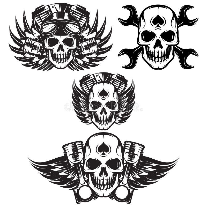 Sistema del vector de la imagen monocrom?tica en tema de la motocicleta con el cr?neo, alas, motor stock de ilustración