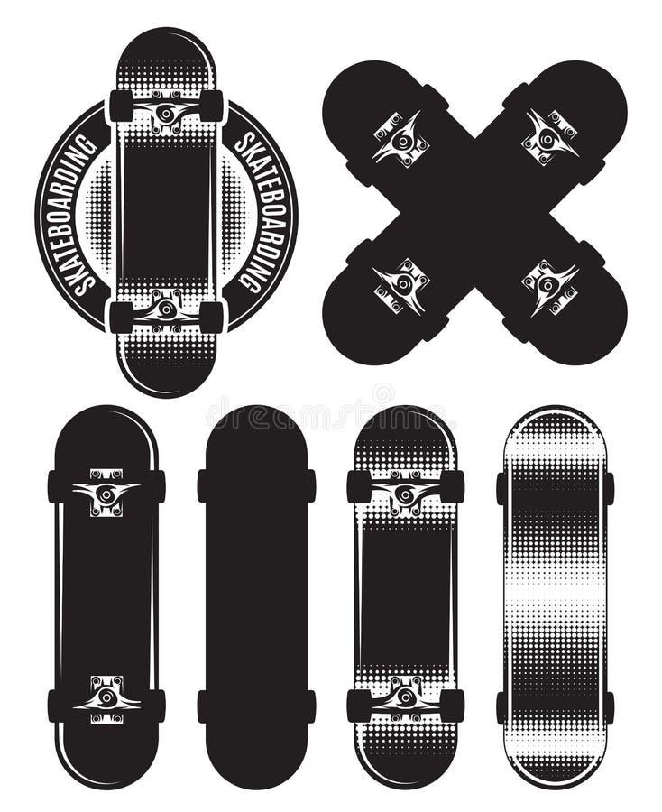 Sistema del vector de la insignia, elementos del diseño con los monopatines stock de ilustración