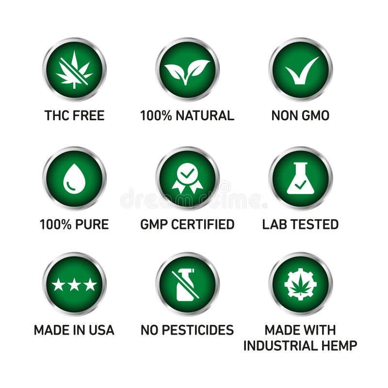 Sistema del vector de la insignia de los iconos del aceite de CBD stock de ilustración