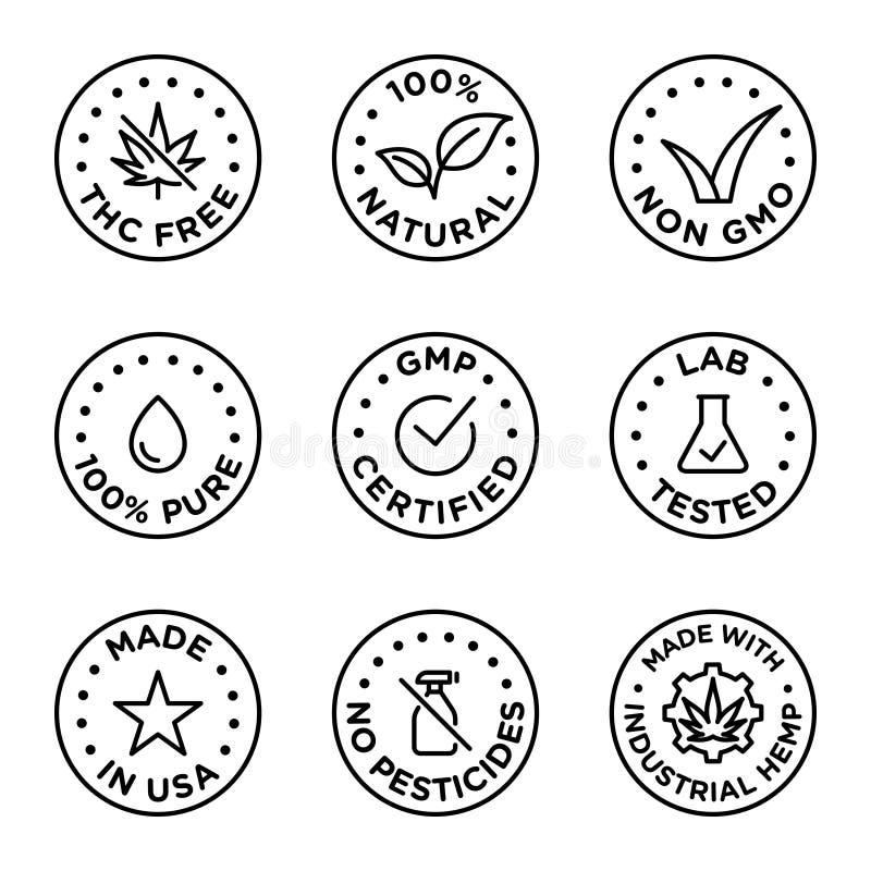 Sistema del vector de la insignia de los iconos del aceite de CBD ilustración del vector