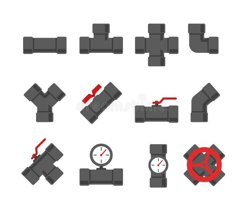 Sistema del vector de la instalación de tuberías Ejemplo del vector de la tubería Fitt del tubo ilustración del vector