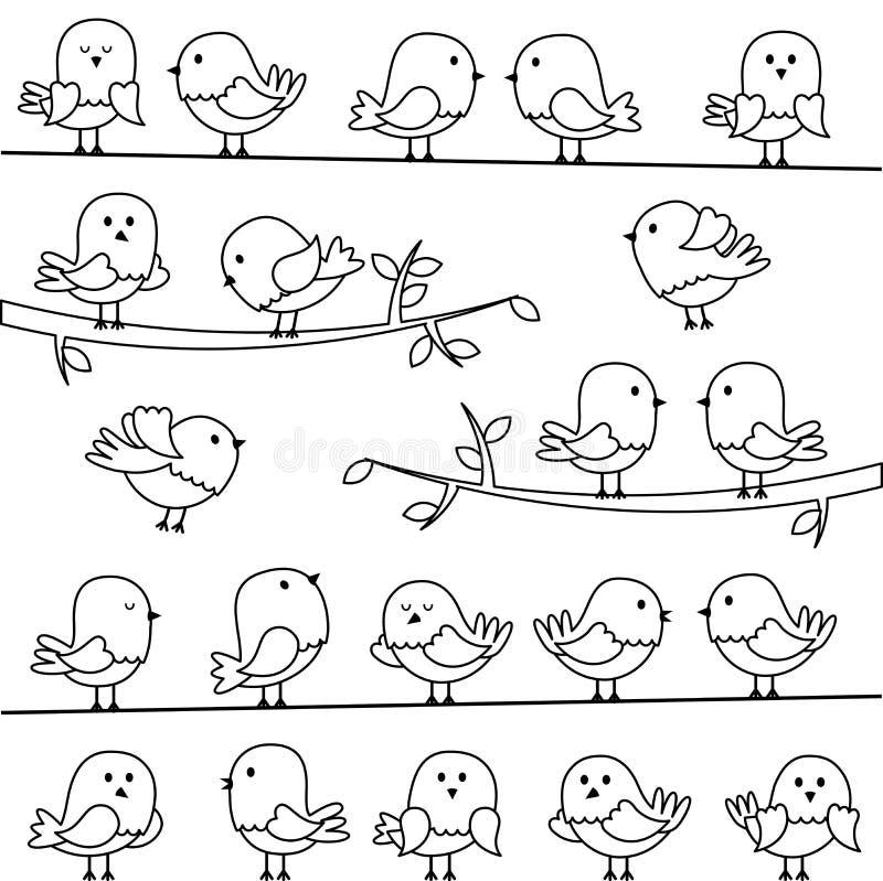 Sistema del vector de la línea Art Cartoon Birds stock de ilustración