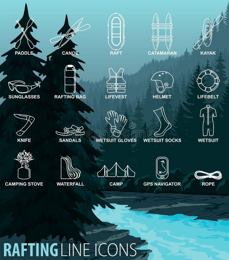 Sistema del vector de la línea fina iconos - transportando whitewater en balsa viaje libre illustration