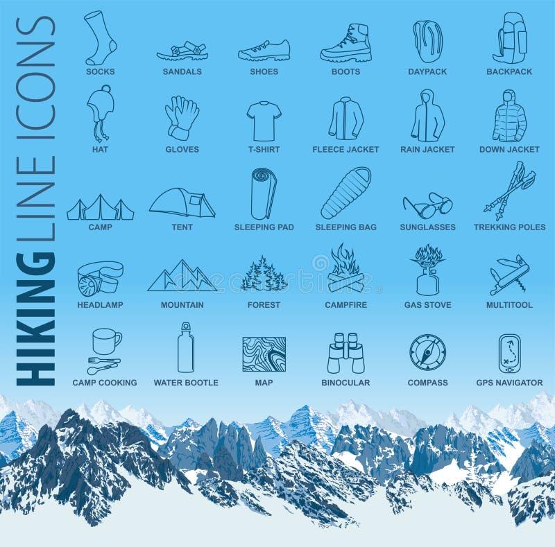 Sistema del vector de la línea fina que camina iconos del viaje que acampan con las montañas inconsútiles stock de ilustración