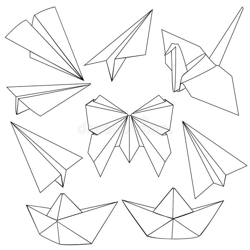 Sistema del vector de la línea negra Art Origami Shapes libre illustration