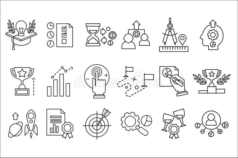 Sistema del vector de la l?nea iconos La soluci?n elegante, nuevas ideas, investiga, logro de las metas, mejora de productividad  libre illustration