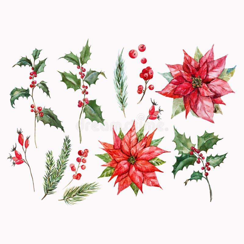 Sistema del vector de la Navidad de la acuarela stock de ilustración