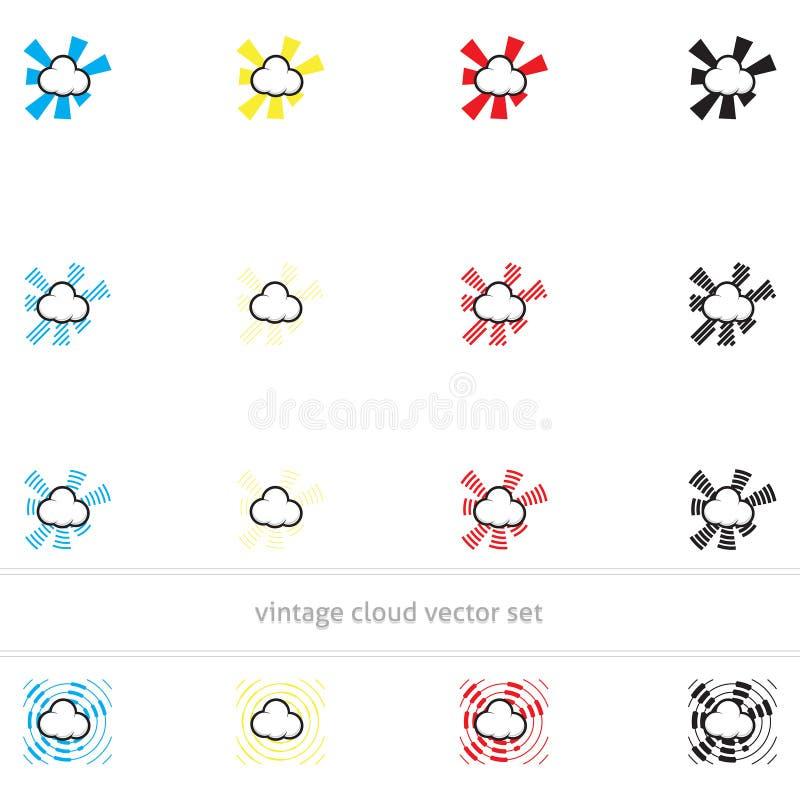 Sistema del vector de la nube del vintage fotos de archivo