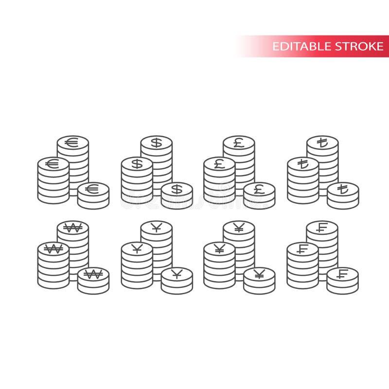 Sistema del vector de la pila de la moneda de la moneda del mundo ilustración del vector