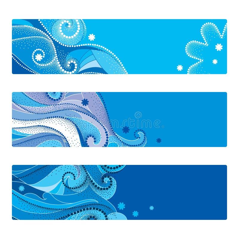 Sistema del vector de la plantilla abstracta con los remolinos punteados, las líneas rizadas azules y los copos de nieve aislados stock de ilustración