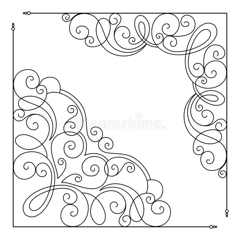 Sistema del vector de la plantilla del vintage con las esquinas adornadas del cordón stock de ilustración