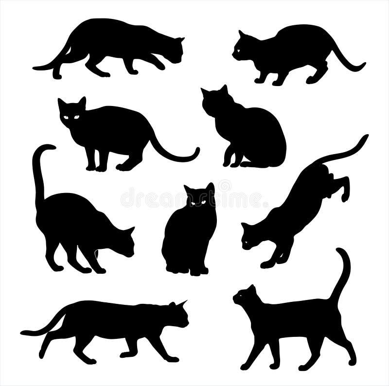 Sistema del vector de la silueta del gato aislado en blanco libre illustration